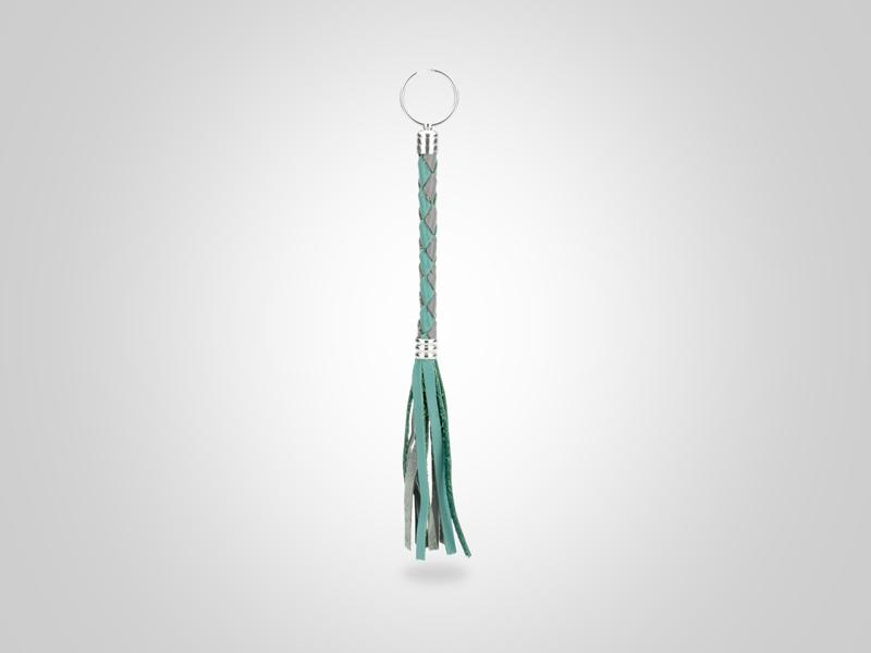 """Braided Leather Key Chain - Turquoise & Gray - (Specs: 3/8"""" Diam x Total Length 9 3/8"""" L (Braid 4"""", Fringe 4""""))"""