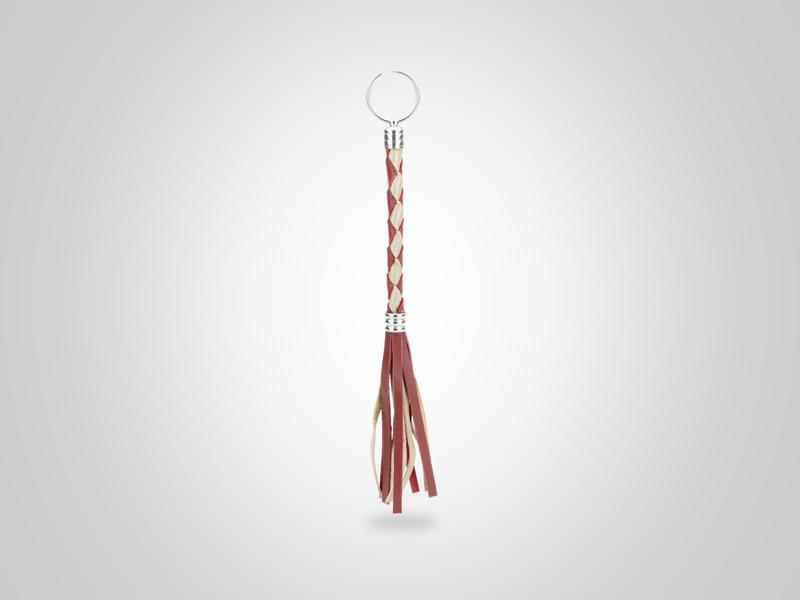 """Braided Leather Key Chain - Red & Gold - (Specs: 3/8"""" Diam x Total Length 9 3/8"""" L (Braid 4"""", Fringe 4""""))"""