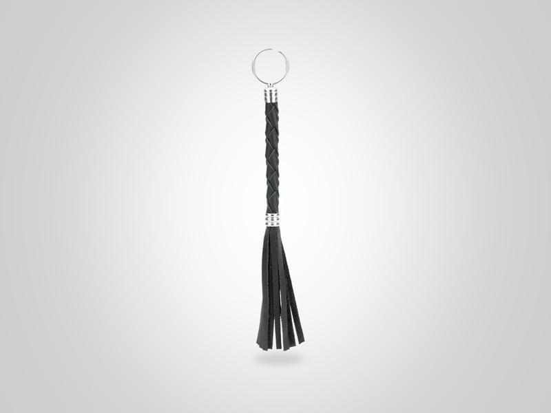"Braided Leather Key Chain - Black - (Specs: 3/8"" Diam x Total Length 9 3/8"" L (Braid 4"", Fringe 4""))"