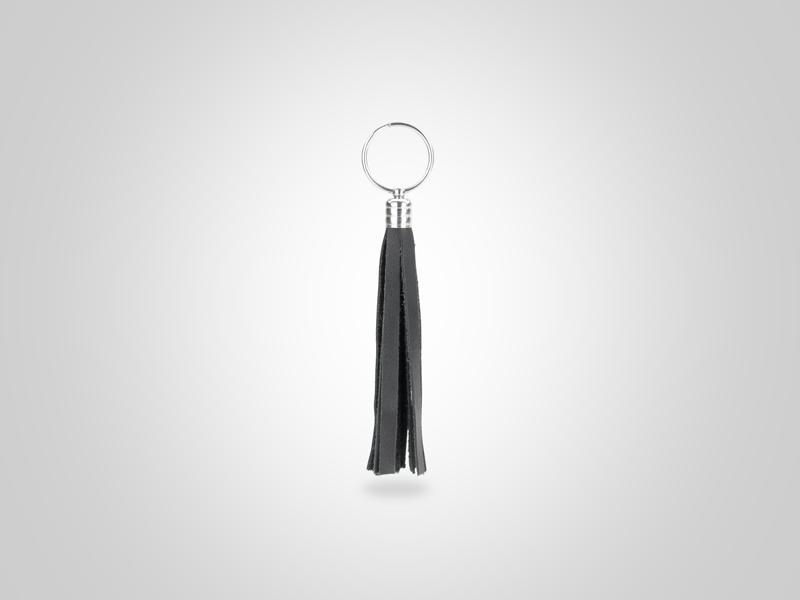 "Braided Fringed Key Chain - Black - (Specs: 1/2"" Diam x Total Length 5.25""L (Fringe 4""))"