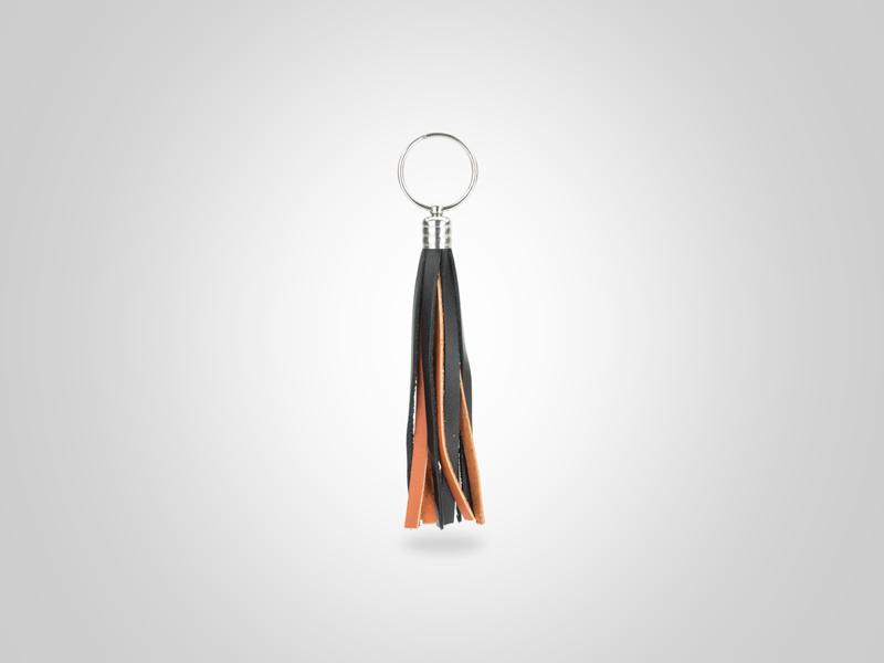 "Braided Fringed Key Chain - Black & Orange - (Specs: 1/2"" Diam x Total Length 5.25""L (Fringe 4""))"