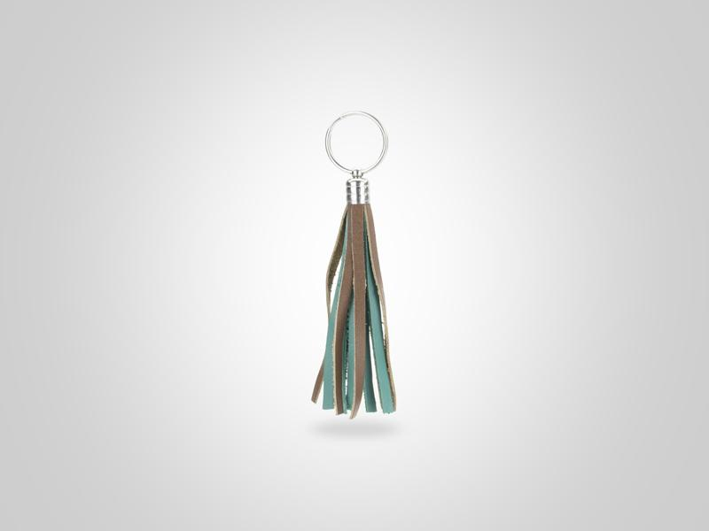 """Braided Fringed Key Chain - Brown & Turquoise - (Specs: 1/2"""" Diam x Total Length 5.25""""L (Fringe 4""""))"""