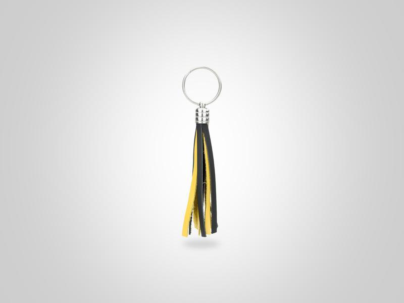 "Braided Fringed Key Chain - Black & Yellow - (Specs: 1/2"" Diam x Total Length 5.25""L (Fringe 4""))"