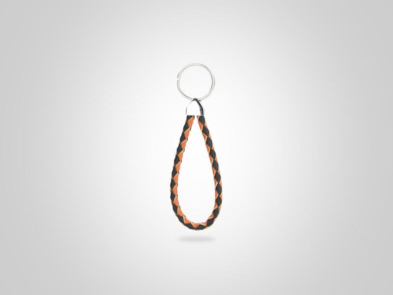 "Small Braided Loop Key Chain - Black & Orange - (Specs: 1/4"" Diam x Total Length 5""L (Braid 8""))"