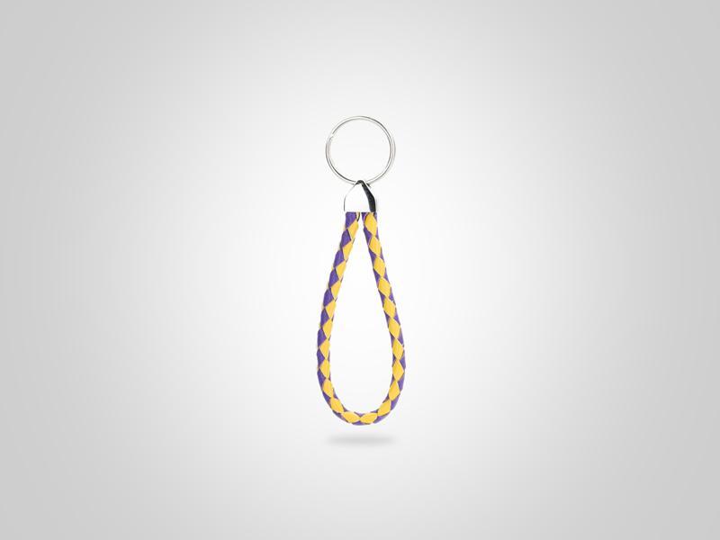 "Small Braided Loop Key Chain - Purple & Yellow - (Specs: 1/4"" Diam x Total Length 5""L (Braid 8""))"