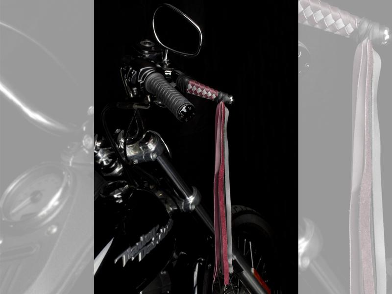 Braided Leather HD Wide Blade Levers on Bike - Burgundy & Silver with Fringe & Black Tieoffs