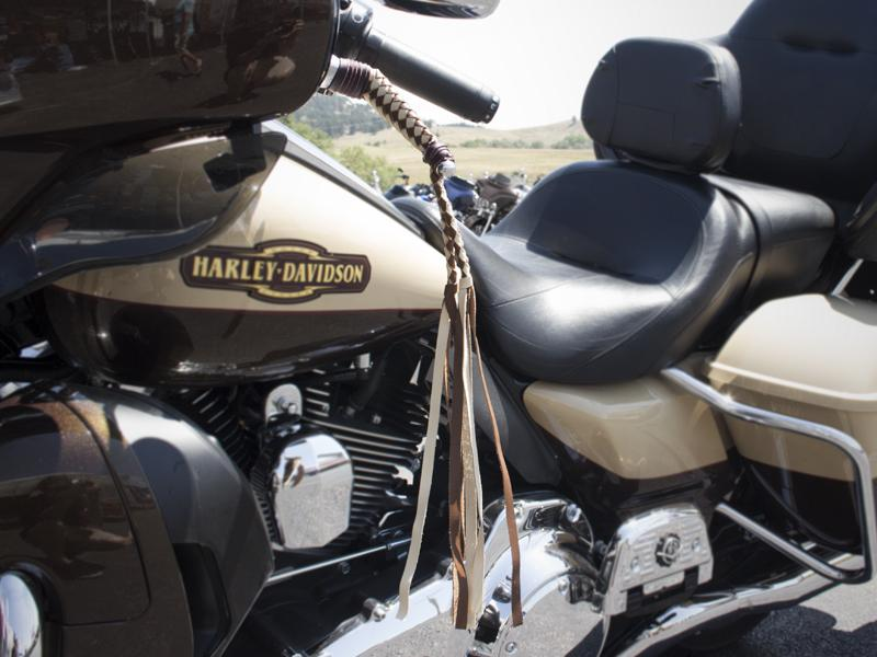 Braided Leather HD Wide Blade Levers on Bike - Burgundy & Gold with Fringe & Bolos