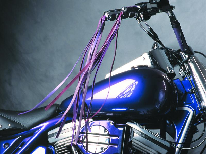 Braided Leather HD Chrome Wide Blade Lever on Bike - Purple & Violet with Fringe