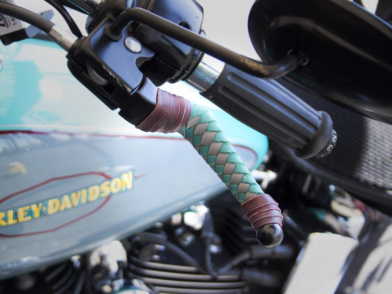Braided Leather HD Wide Blade Levers on Bike - Turqouise & Gray with Burgundy Tieoffs - No Fringe