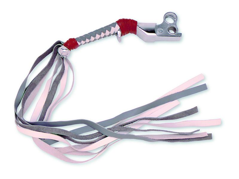 Braided HD Chrome Trigger Lever - Gray & White Tieoff Red with Fringe