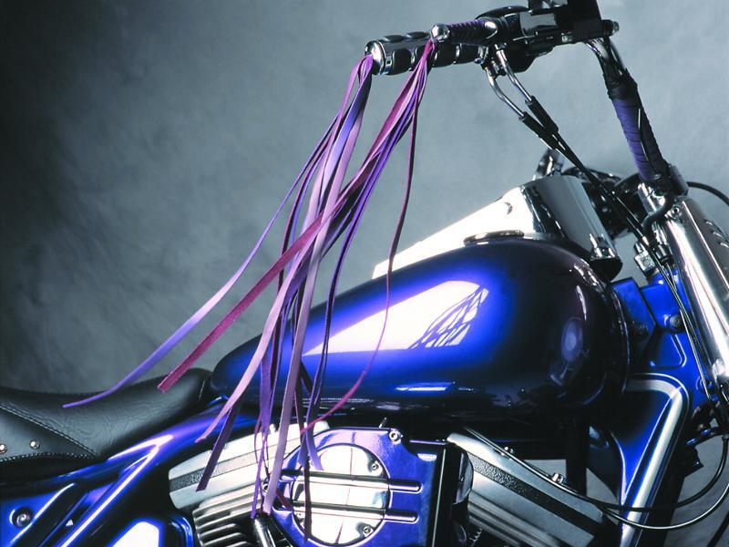 "Braided Purple & Violet 16"" Fringe Black Tieoffs - Matching 16"" Fringe Iso Endcaps"