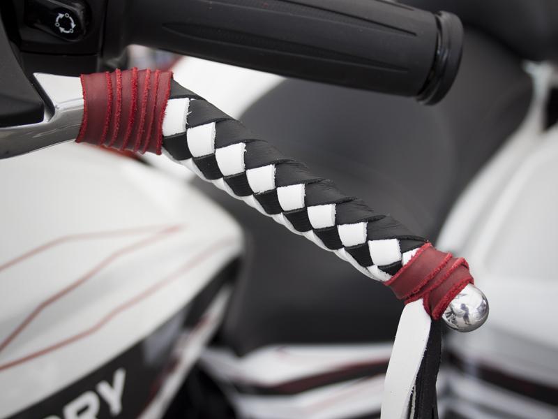 """Braided Black & White 16"""" Fringe Red Tieoffs"""