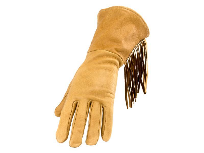 Men's Saddletan Deerskin Gauntlet Glove with Fringe - Size S-XXL - #653D