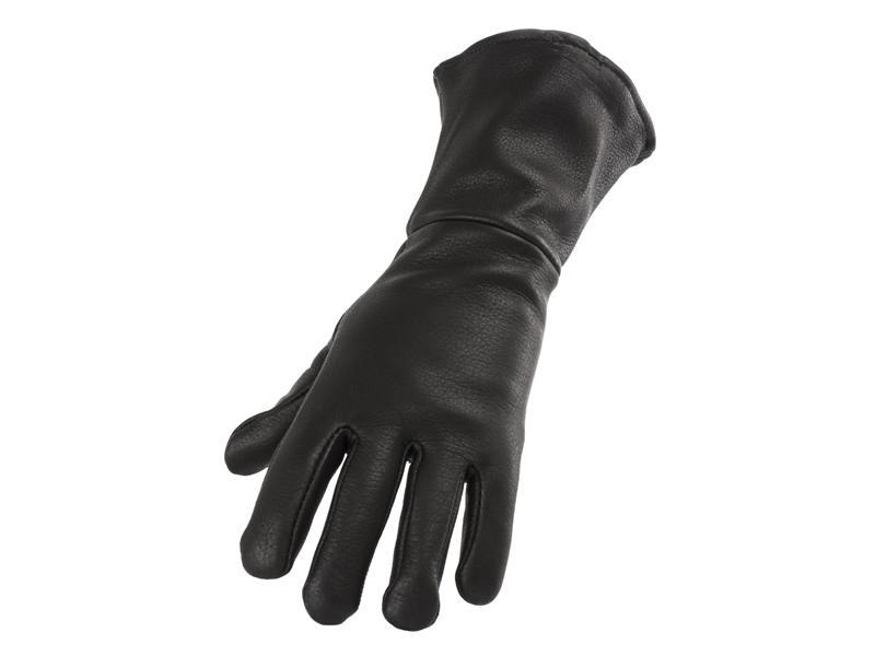 Men's Black Deerskin Gauntlet Glove - Size S-XXL - #860D