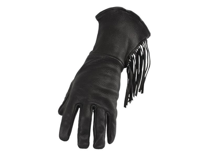 Ladies Black Deerskin Gauntlet Glove with Fringe - Size S-L - #853DL