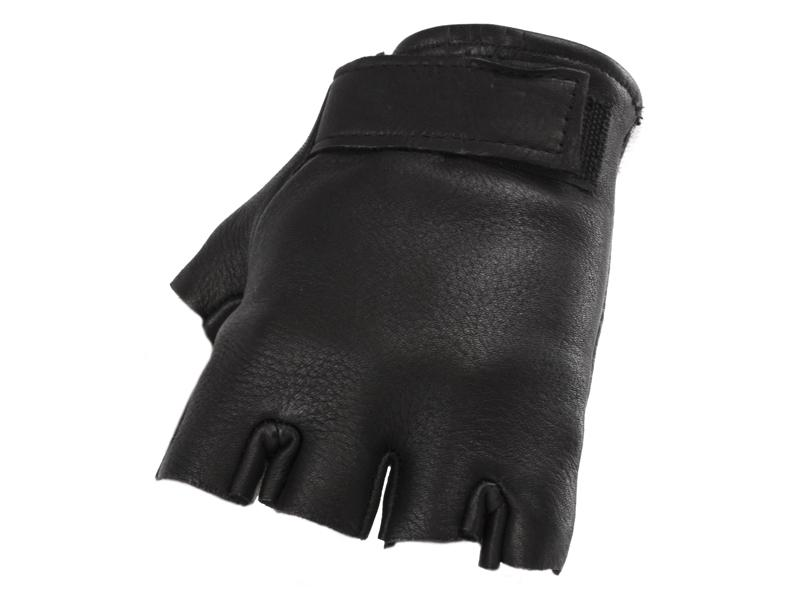 Unisex Black Fingerless Deerskin Glove - Size 8-12 - #890