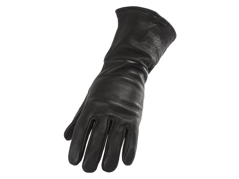 Ladies Black Lined Deerskin Gauntlet Glove - Size S-L - #860DLT