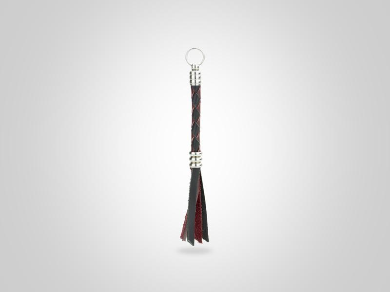 "Braided Leather Zipper Pull - Black & Burgundy - (Specs: 1/4"" Diam x Total Length 4.75""L (Braid 2"" - Fringe 2""))"