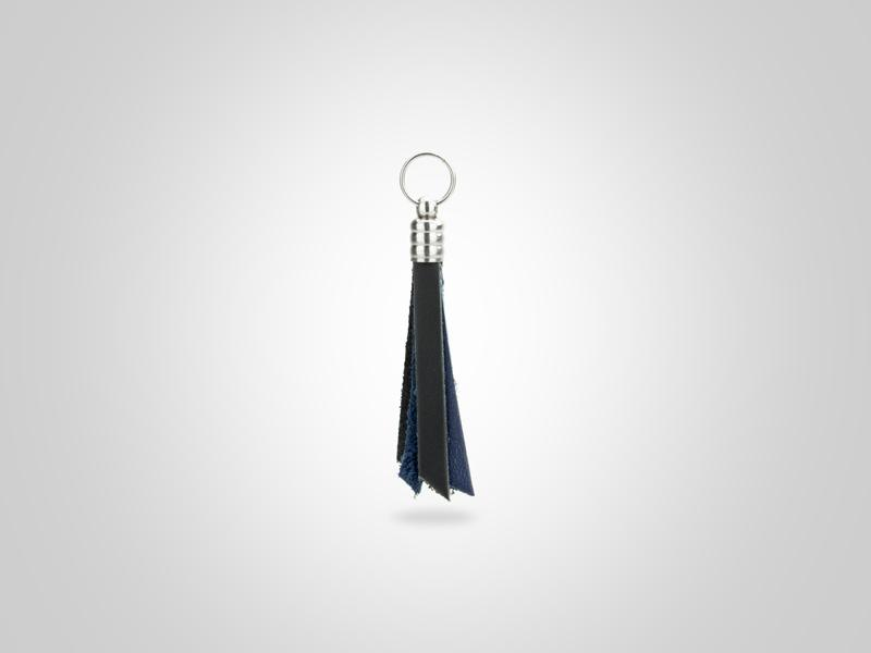 "Fringed Leather Zipper Pull - Black & Blue - (Specs: 1/8"" Diam x Total Length 3 5/8""L (Fringe 1.75""))"