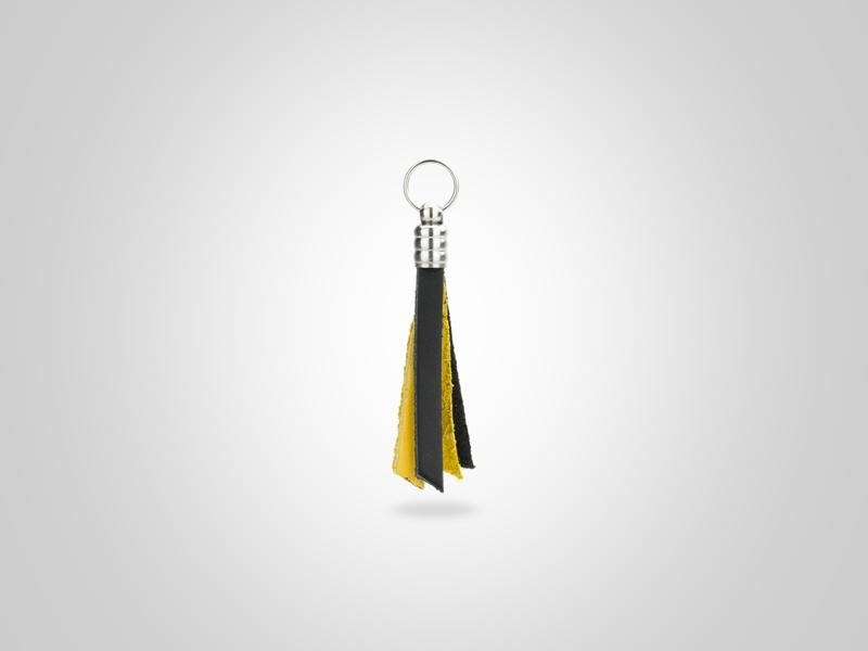 "Fringed Leather Zipper Pull - Black & Yellow - (Specs: 1/8"" Diam x Total Length 3 5/8""L (Fringe 1.75""))"