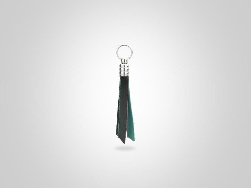 "Fringed Leather Zipper Pull - Black & Turquoise - (Specs: 1/8"" Diam x Total Length 3 5/8""L (Fringe 1.75""))"