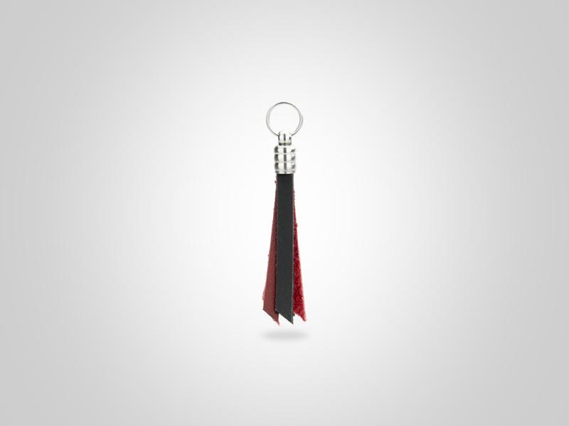 "Fringed Leather Zipper Pull - Black & Red - (Specs: 1/8"" Diam x Total Length 3 5/8""L (Fringe 1.75""))"