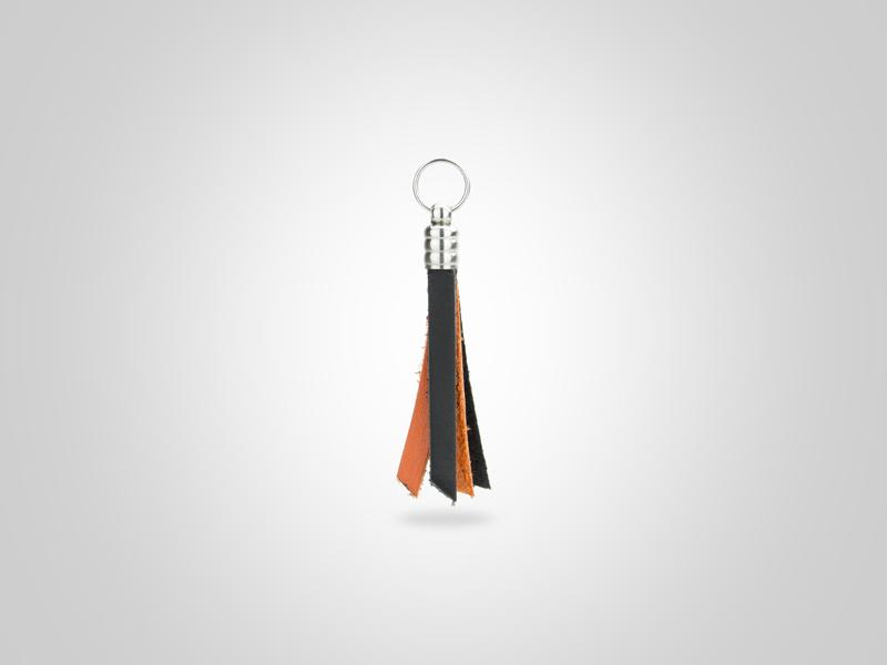 "Fringed Leather Zipper Pull - Black & Orange - (Specs: 1/8"" Diam x Total Length 3 5/8""L (Fringe 1.75""))"