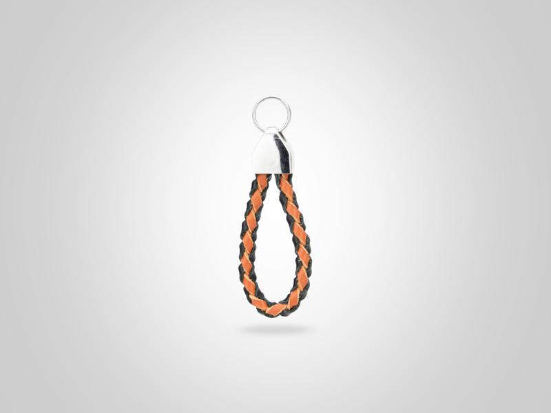 "Loop Leather Zipper Pull - Black & Orange - (Specs: 1/8"" Diam x Total Length 2 1/2""L (Braid 4""))"