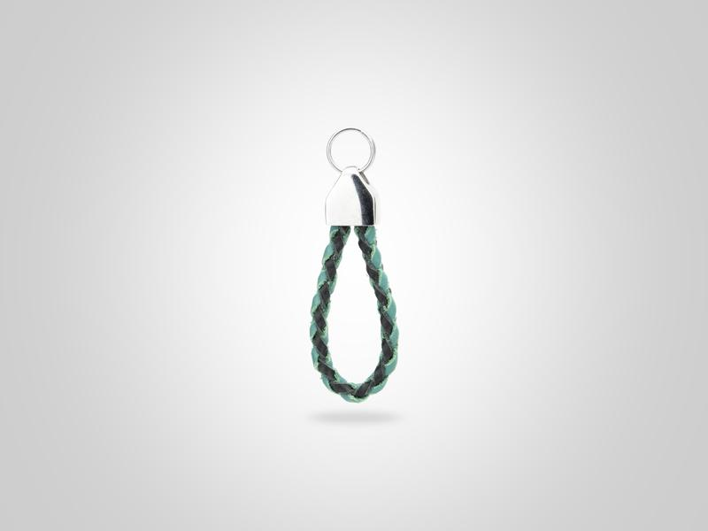 "Loop Leather Zipper Pull - Black & Turquoise - (Specs: 1/8"" Diam x Total Length 2 1/2""L (Braid 4""))"