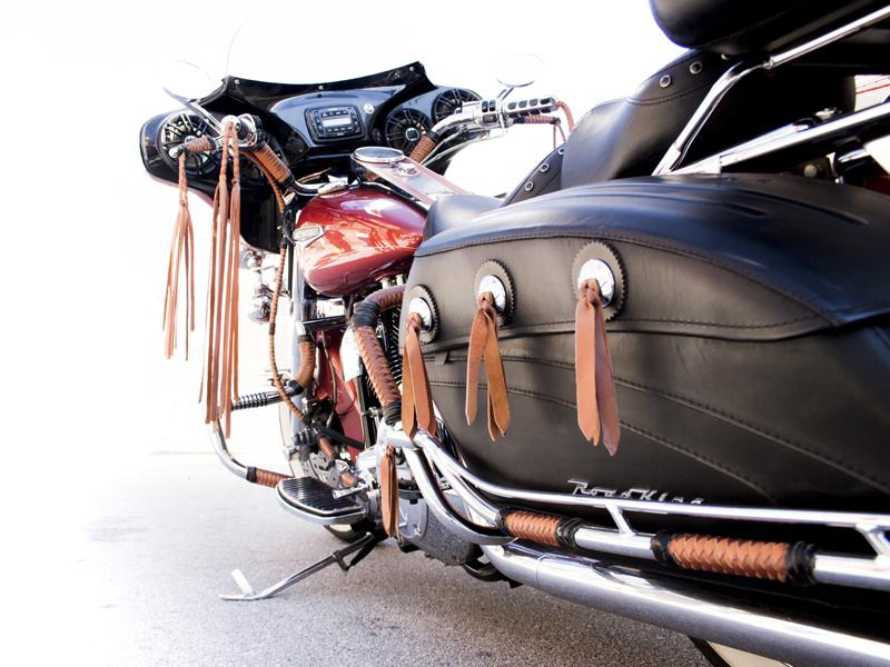 Strapped Conchos on RoadKing and Custom Braiding - Orange & Aztec