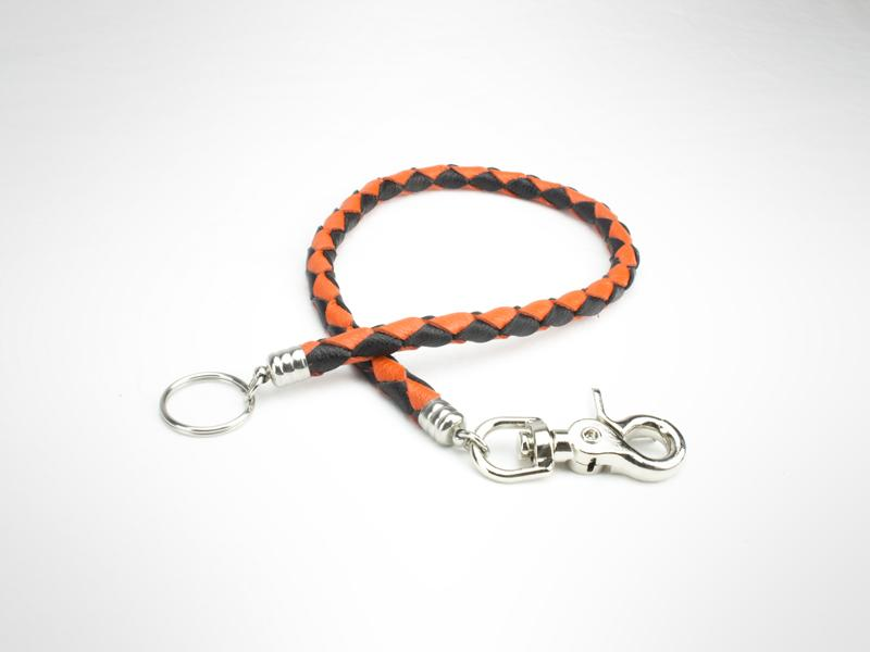 "Braided Leather Wallet  Chain - Black/Orange (Specs 3/8"" Diam, Total Length 22"" Long)"