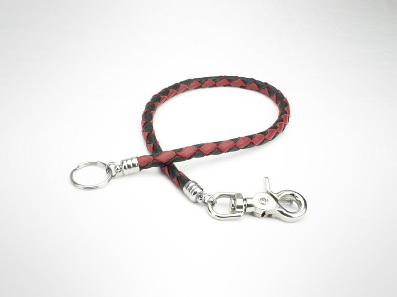 "Braided Leather Wallet  Chain - Black/Red (Specs 3/8"" Diam, Total Length 22"" Long)"