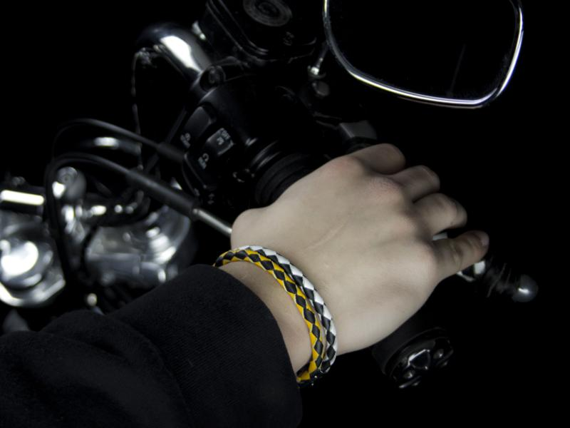 Braided Leather Bracelets with Stainless Steel Magnetic Clasp - Black/Yellow & Black/White