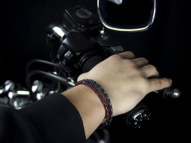 Braided Leather Bracelets with Stainless Steel Magnetic Clasp - Black/Red & Black/Gray