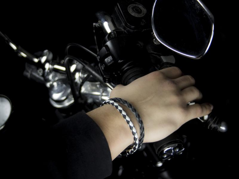 Braided Leather Bracelets with Stainless Steel Magnetic Clasp - Black/White & Black/Gray
